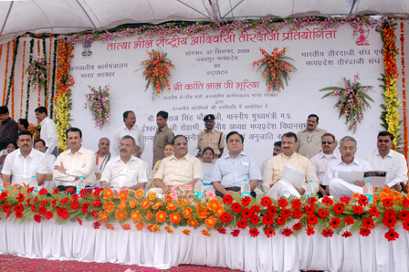 Honourable Minister on Dais from Left..Right Mr. Jagat Bhadur Singh..Organising Seceretary Mr.Prasha